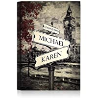 Lovers Crossroads - Personalized Canvas Prints or Framed Art Gift, includes Names and the Special Date - Perfect Gift for the Wedding Anniversary.