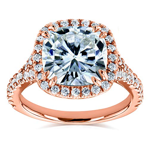 (Cushion Moissanite and Diamond Halo Cathedral Ring 3 1/3 CTW in 14k Rose Gold, Size 5.5, Rose Gold)