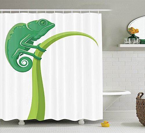 [Reptile Decor Shower Curtain Set Exotic Grumpy Lizard Holding onto Grass with Curled Tail Jungle Cartoon Camouflage Home Bathroom Accessories Green] (Grumpy Cat Costume Ideas)