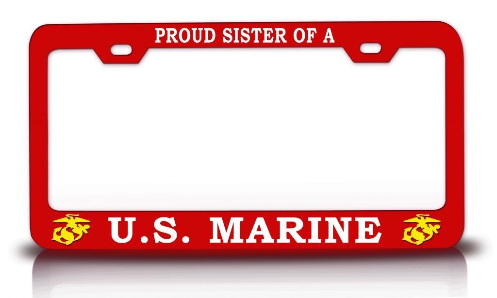 Amazon Com Proud Sister Of A Us Marine U S Marines Steel Metal Red