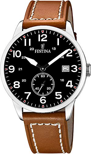 Festina Man Watch F20347/7 Stainless Steel Black dial Leather Strap