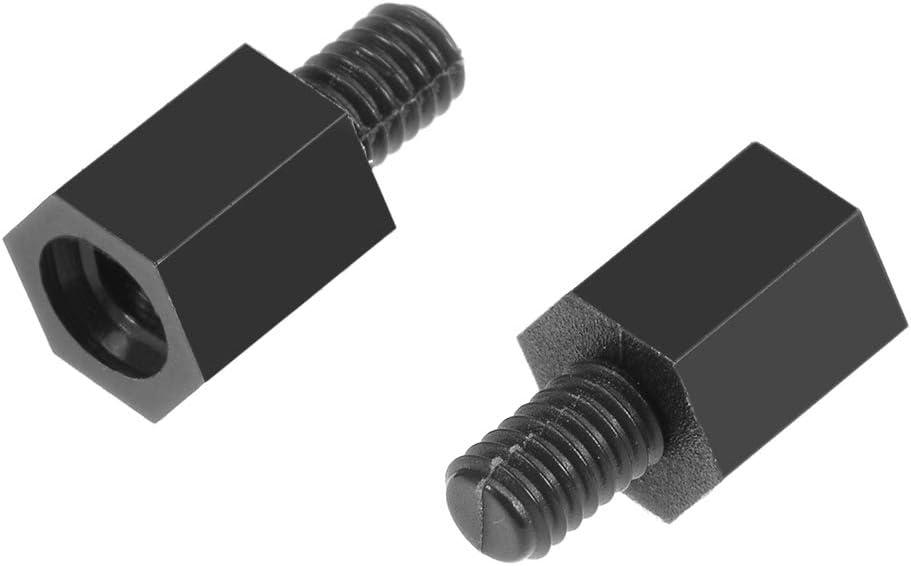 50pc M4 18/+6mm filetage femelle m/âle six pans vis entretoise nylon PCB Noir
