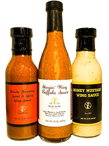 Honey Mustard Wing Sauce, Medium Buffalo Sauce &, Thirsty Thursday Sweet & Spicy Wing Sauce Gift or Variety Pack (3 count) - Blended in Small Batches with Farm Fresh Herbs for Premium Fl (Buffalo Mustard)