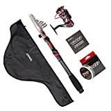 LONPAR Fishing Rod and Reel Combos Free Nylon Line and Carrier Bag Suit for Travel Durable – Lightweight – Portable – Convenient Fresh or Salt Water Spinning Rod Kit