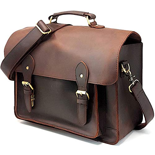 Leather DSLR Camera Bag 15.6-Inch Laptop Briefcase - Shoulder Bag Messenger Satchel w/ Removable Insert - Fits Professional Size DSLR with Lens