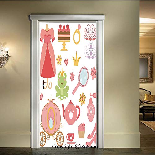 (baihemiya 3D Door Wallpaper Stickers,Princess-Tiara-Tea-Party-Mirror-Teapot-Tea-Party-Frog-Crown-Fairy-Cupcake-Girls-Decorative,W30.3xL78.7inch,Suitable for Any Dry,Flat Surface)