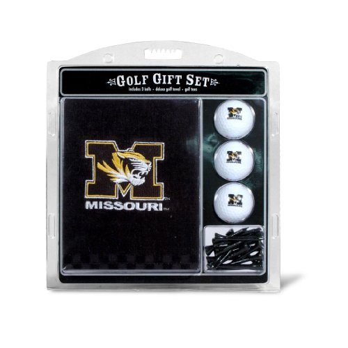 Team Golf NCAA Missouri Tigers Gift Set Embroidered Golf Towel, 3 Golf Balls, and 14 Golf Tees 2-3/4