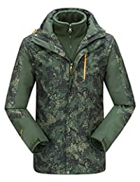 Men's 3-in-1 Camouflage Windbreaker Jacket with Linner Outdoor Thicken Outwear
