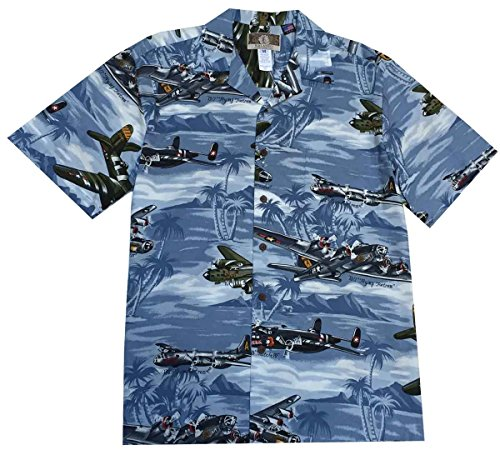 [Kalaheo Men's B Bomber Hawaiian Shirt, Blue, Large] (Blue Hawaiian Helicopters)