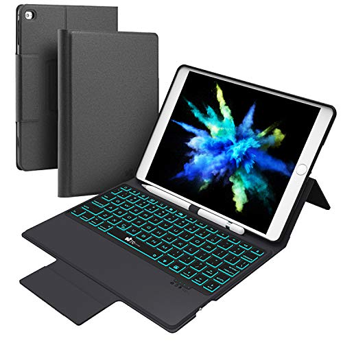 Keyboard Pencil (Keyboard Case for iPad New 2018 iPad(6th Gen), 2017 iPad(5th Gen), iPad Pro 9.7, iPad Air 2 & 1,iPad 9.7 inch BT Backlit Thin & Light - Wireless/BT - 7 Color Backlight Keyboard with Pencil Holder)