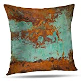 Kutita Rustic Texture Decorative Pillow Covers Copper and Painting Copper and PaintingThrow Pillow Case Cushion for Sofa Living Room 20X20 Inch
