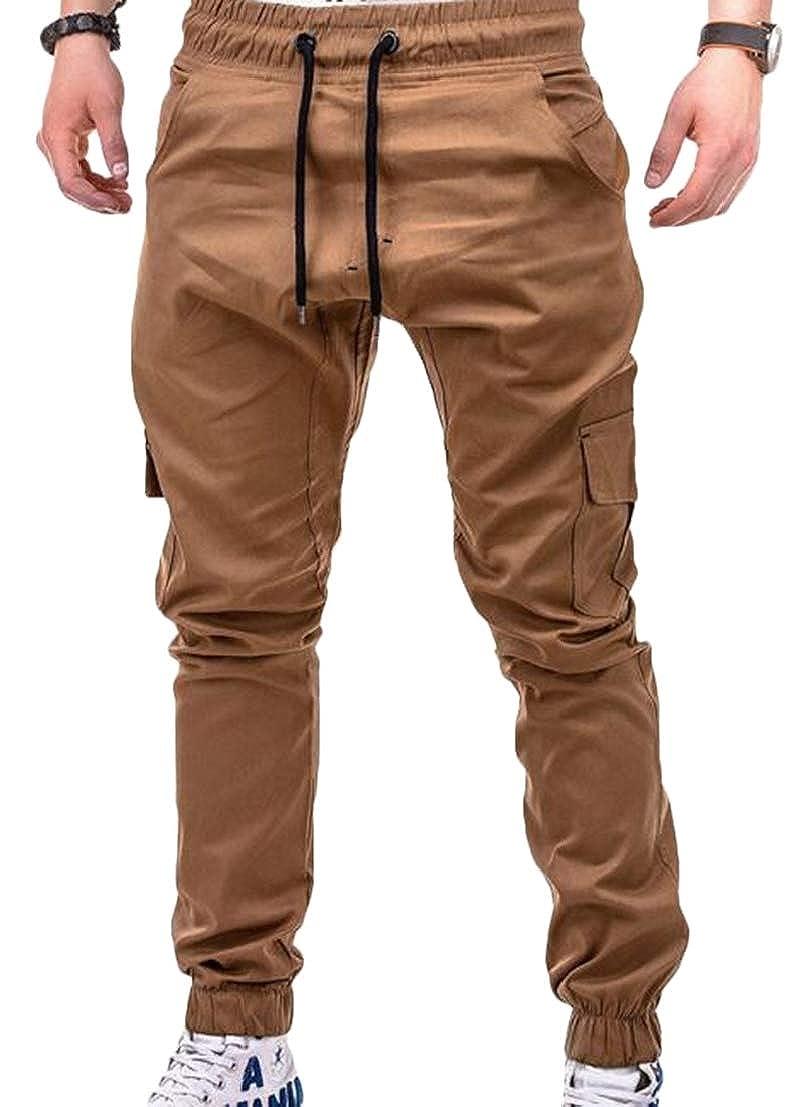 UUYUK Men Solid Pocket Casual Jogger Elastic Waist Pants Trousers