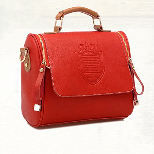 Bag Faux 5 Messenger Brief Fashion Shoulder Adjustable Leather Handbag 24 Bag Tote Red Body British Removable Satchel Women 14cm Cross Case Vintage Strap Retro Bag 21 XPqwFBZXx