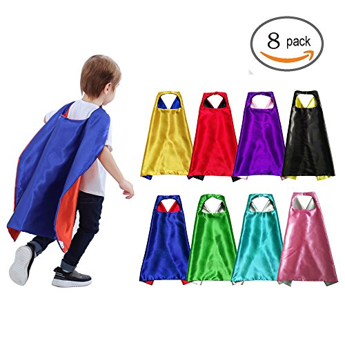 Easy To Put Together Halloween Costumes For Adults (YIISUN Kids Cape Dress Up Halloween Costumes for Boys Double-Sided Statin (8 Pack))