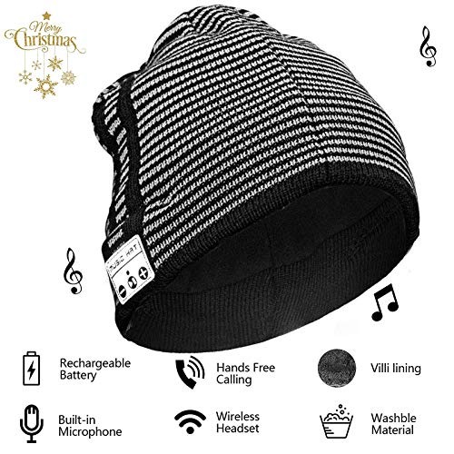 Bluetooth Earphone Beanie Hat Smartphone Men Women Winter Outdoor Wireless Bluetooth Stereo Music Hat Musical Knit Headphone Speaker Hat Hands-Free Men Women Boyfriend Gifts (Striped)