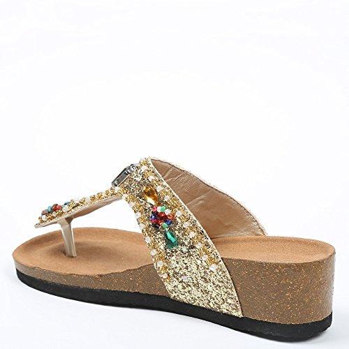 Ideal Shoes Barfuß Glitter und Kette Strass Kristall Andrienne Doree