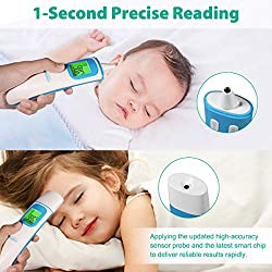 Manfiter Infrared Thermometer - Medical Forehead and Ear Thermometer 1S Precise Reading&Fever Indicator Digital Infrared Thermometer for Baby Kids and Adults - Baby Thermometer for Fever, White