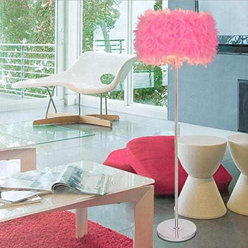 LAKIQ Modern Standing Floor Lamp Feather Drum Shade Plug-in Floor Lighting