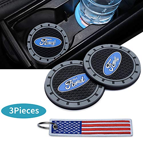 HEY KAULOR 2 Pcs 3 inch Car Interior Accessories Anti Slip Cup Mat for Ford Focus,kuga,Fusion,Mondeo,Fiesta,Transit,Mustang, Ranger,F150,F250 F350, Edge, Explorer,etc All Models