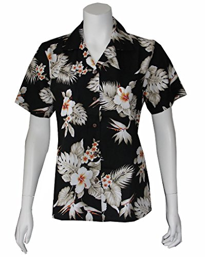 Alohawears Clothing Company Made in Hawaii ! Womens Hibiscus Bird Flowers Hawaiian Aloha Shirt