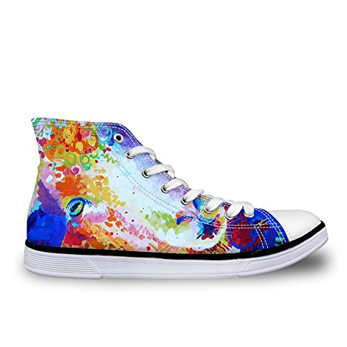 FOR U DESIGNS Fashion Unisex Owl Wolf Horse Animal Print High Top Lace Up Shoes Casual Canvas Sneakers For Women and Men Sheep ZzOx0