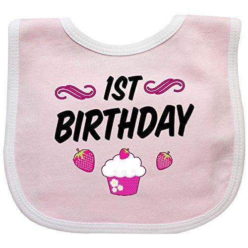 Inktastic - 1st Birthday with Cupcake Baby Bib Pink/White 2fe48