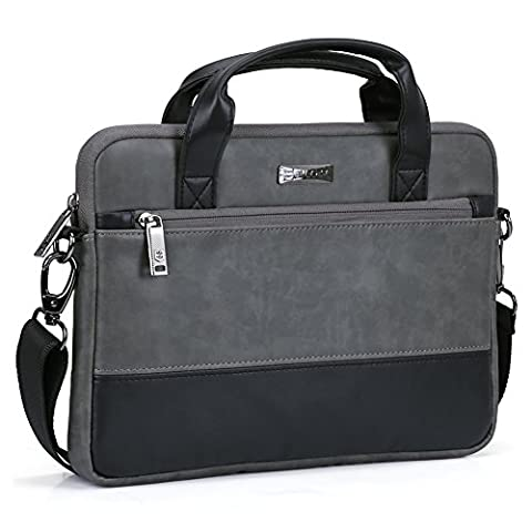 11 11.6 inch Laptop Shoulder Bag, Evecase PU Leather Modern Business Tote Briefcase Messenger Case with Accessory Pockets ( Fits Up to 11.6-inch Macbook Air, Laptop, Chromebook ) - Black / - 810 Series Notebooks