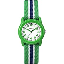 Timex Boys TW7C06000 Time Machines Analog Resin Green/Blue Stripes Elastic Fabric Strap Watch