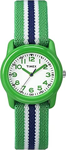 Timex Kids TW7C06000 Green Resin Watch with Green/Blue Striped Elastic Fabric Strap - Timex Water Resistant Watch