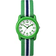 Timex Kids TW7C06000 Green Resin Watch with Green/Blue Striped Elastic Fabric Strap