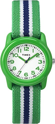 (Timex Boys TW7C06000 Time Machines Analog Resin Green/Blue Stripes Elastic Fabric Strap Watch)
