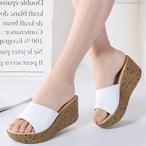 Sandales Forme Cales Sandales des Femmes Blanc Plage Haut Mode Plate de Orteil Robe Chunky Lames La Talon Ouvertes qXY6xE
