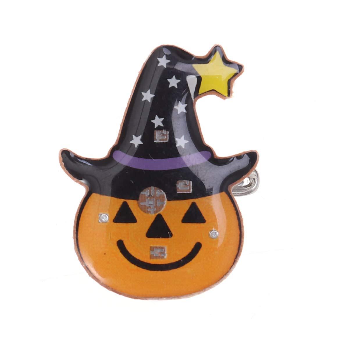BESTOYARD Halloween Broche Lumineux Glowing Badge Clip dragées Décorations (Citrouille en Chapeau)