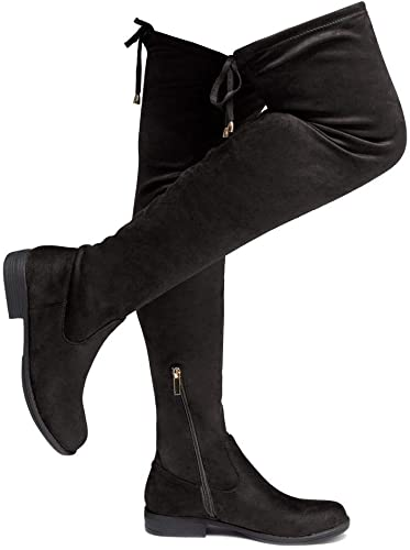 Womens Faux Leather pull on Buckle Over The Knee Thigh High Boots Casual Shoes n