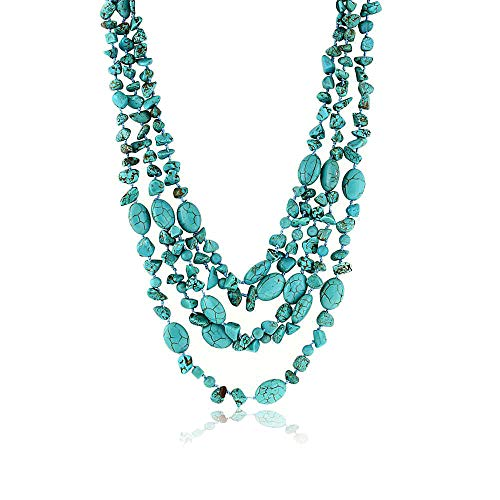 Gem Stone King 20inches 3 Strands Green Simulated Turquoise Necklace with Toggle Clasp20 Inch ()