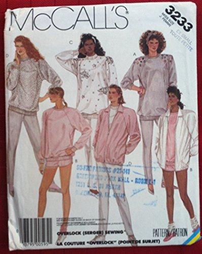 (McCalls 3233 Sewing Patten for Raglan Sleeve or Embellished Jacket, Sweatshirts, Slim Knit Pants Running)