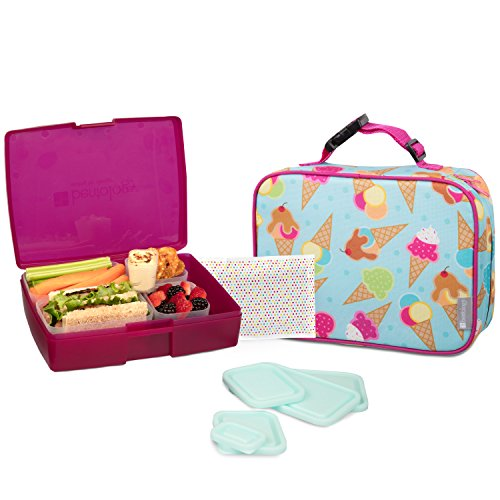 Bentology Lunch Bag and Box Set for Girls - Includes Insulated Sleeve with Handle, Bento Box, 5 Containers and Ice Pack - Ice Cream