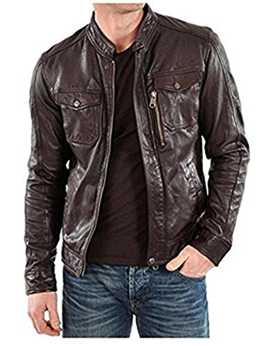 Leather Skin Design Men Pure 100% Lambskin Leather Solid Biker Leather - Skins Chart Size Mens