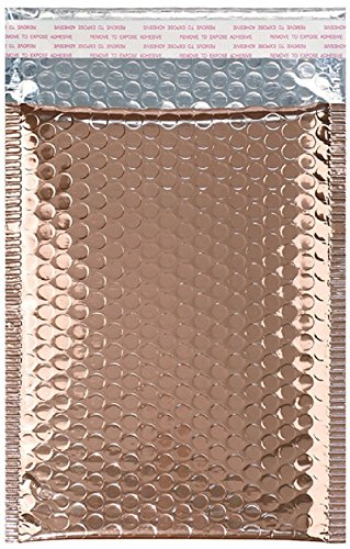25 Pack Rose Gold Bubble mailers 7.25 x 11. Metallic padded envelopes 7.25x11 light pink cushion envelopes Peal and Seal. Thermal shipping bags for mailing, packing. Packaging in bulk, wholesale price