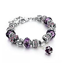 Capital Charms - Purple Crystal Charms - Silver Fashion Charm Bracelet with Charms for Girls and Ladies with a Velvet Drawstring Gift Bag