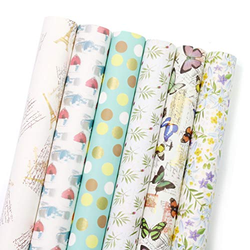 - UNIQOOO Premium Assorted Gift Wrapping Paper 24 Sheets,6 Designs 4 Each,3 Rolls, Japanese Kimono Style,Sheet Size 27½