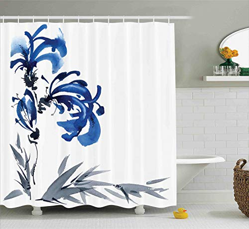 (Ambesonne Traditional House Decor Shower Curtain, Watercolors Eastern Floral Motif Brushstroke Effect Hand Drawn Image, Fabric Bathroom Decor Set with Hooks, 70 Inches, Gray Blue)