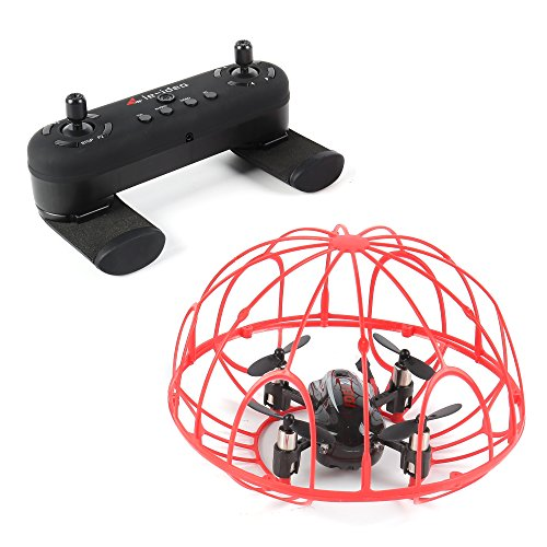 le-idea IDEA2 Mini Toy RC Drones Quadcopters in Cage for Kids Beginners,Headless Mode,Altitude Hold Mode,360°Rolling,One Key to Return,2.4Ghz 4CH 6 Axis LED,Bonus Battery,Black by le-idea