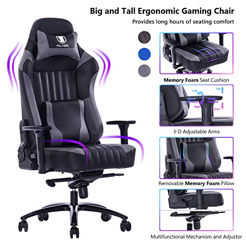 VON RACER Big and Tall 400lb Memory Foam Gaming Chair-Adjustable Tilt, Angle and 3D Arms Ergonomic High-Back Leather Racing Executive Computer Desk Office Metal Base Gray