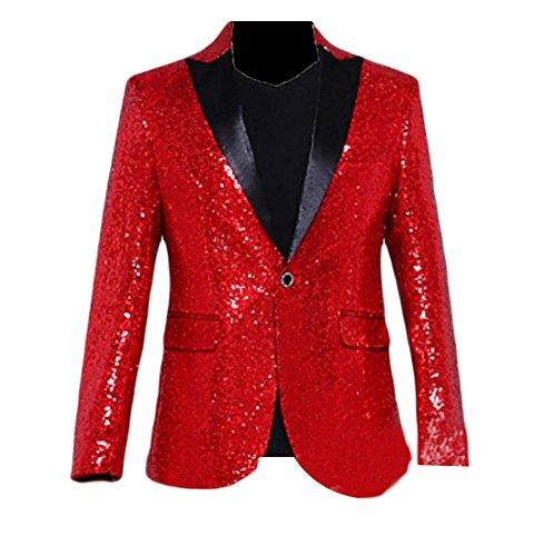 BSTBUWIN Men 1 Button Shiny Sequin Sweatshirt Club Leisure Business Suit Red S