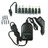 GSI Super Quality 90w, Universal Laptop Rapid Car Charger Adapter Plug With DC Tips For Sony, Fujitsu, Samsung, Sharp, LiteOn, NEC, Toshiba, HP/Compaq, Asus, Delta, IBM And Gateway Notebooks – Never Run Out Of Power! – Black image