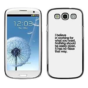 Caucho caso de Shell duro de la cubierta de accesorios de protección BY RAYDREAMMM - Samsung Galaxy S3 I9300 - Inspirational Text Inspiring