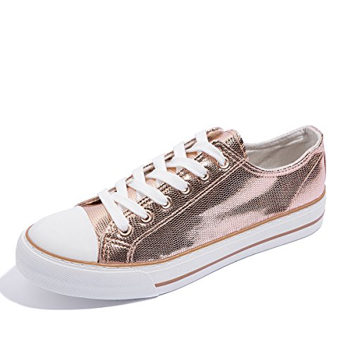 AOMAIS Womens Fashion Canvas Sneakers Low Top Lace Up Walking Shoes Rose Gold XykpDJDFg