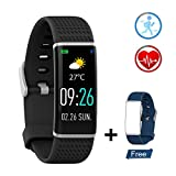 ZKCREATION Fitness Tracker Activity Tracker with Heart Rate Monitor IP67 Waterproof Pedometer Sleep Monitor Smart Watch Compatible with Android and iOS Smartphone(Color Screen,Black)