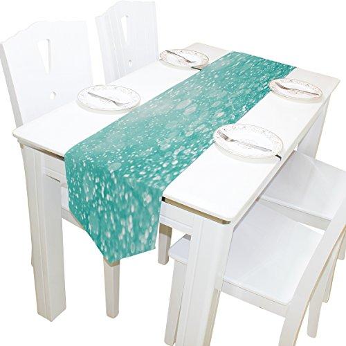 ALAZA camino de mesa decoración para el hogar, elegante color azul turquesa con purpurina camino de mantel de mesa café...